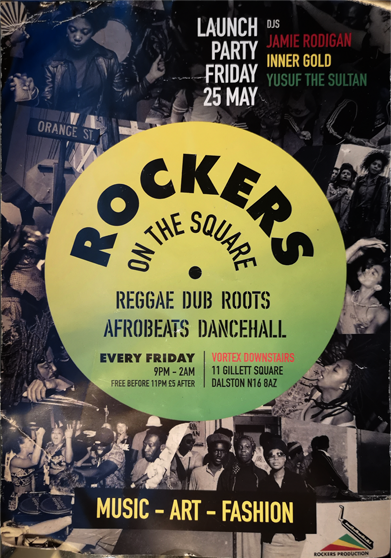 Flyer for Rockers Community Hi-Fi at the Vortex Jazz Bar in Dalston, London in 2018